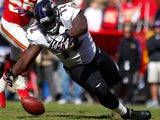 Baltimore Ravens' Kelechi Osemele in action against Kansas City Chiefs on October 7, 2012
