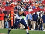 Tight end Lance Kendricks #88 of the St. Louis Rams runs 80 yards with a pass for a touchdown against the Tampa Bay Buccaneers December 23, 2012