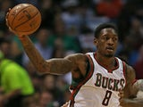 Larry Sanders of the Milwaukee Bucks moves against Udonis Haslem of the Miami Heat in Game Four of the Eastern Conference Quarterfinals on April 28, 2013