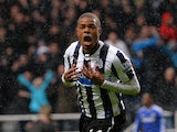 Newcastle's Loic Remy celebrates after scoring his team's second goal against Chelsea on November 2, 2013