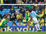 Matija Nastasic of Manchester City scores their third goal during the Barclays Premier League match between Manchester City and Norwich City at Etihad Stadium on November 2, 2013