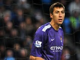 Manchester City's Romanian goalkeeper Costel Pantilimon looks on during the English Premier League football match between Manchester City and Norwich City at the Etihad Stadium in Manchester, northwest England, on November 2, 2013