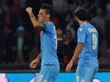Marek Hamsik of Napoli celebrates after scoring goal 2-0 during the Serie A match between SSC Napoli and Calcio Catania at Stadio San Paolo on November 2, 2013