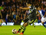 Oussama Assaidi of Stoke City scores their first goal during the Capital One Cup Fourth Round match against Birmingham City on October 29, 2013