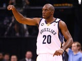 Quincy Pondexter of the Memphis Grizzlies reacts in the second half while taking on the San Antonio Spurs during Game Four of the Western Conference Finals on May 27, 2013