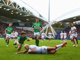 England's Ryan Hall scores his second try against Ireland during their World Cup Group A match on November 2, 2013