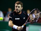 Stanislas Wawrinka in action against Feliciano Lopez during round two of the Paris Masters on October 30, 2013