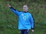 Stuart Lancaster, the England head coach issues instructions during the England training session held at Pennyhill Park on October 28, 2013