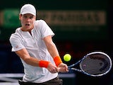 Tomas Berdych in action against David Ferrer during the quarter finals of the Paris Masters on November 1, 2013