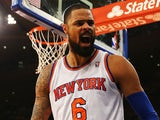 Tyson Chandler of the New York Knicks celebrates a blocked shot against the Milwaukee Bucks during their game at Madison Square Garden on October 30, 2013