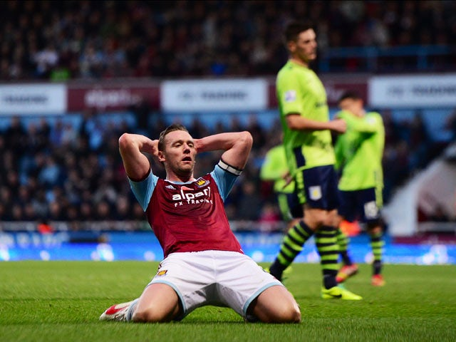 Kevin Nolan of West Ham United reacts after a chance at goal during the Barclays Premier League match between West Ham United and Aston Villa at the Boleyn Ground on November 2, 2013