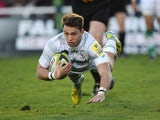 Newcastle Falcons' Alex Lewington scores a try against London Irish during their LV= Cup match on November 10, 2013