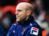 Blackpool assistant boss Alex Rae look on against Leicester during the npower Championship match on February 23, 2013