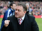 Nottingham Forest manager Billy Davies clenches his fist in celebration on February 16, 2013