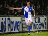 Matt Harrold of Bristol Rovers celebrates scoring during the FA Cup First Round match between Bristol Rovers and York City at Memorial Stadium on November 8, 2013