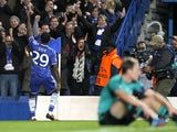 Chelsea's Cameroonian striker Samuel Eto'o celebrates scoring his second goal during the UEFA Champions League group E football match between Chelsea and FC Schalke at Stamford Bridge in London on November 6, 2013