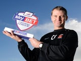 Hartlepool United boss Colin Cooper with his Manager of the Month award for October on November 7, 2013