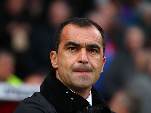 Manager Roberto Martinez of Everton looks on during the Barclays Premier League match between Crystal Palace and Everton at Selhurst Park on November 9, 2013