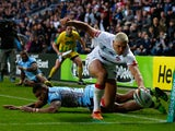 Ryan Hall of England dives over to score a try during the Rugby League World Cup Group A match at the KC Stadium on November 9, 2013