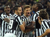 Fernando Llorente of Juventus celebrates after scoring the opening goal during the Serie A match between Juventus and SSC Napoli at Juventus Arena on November 10, 2013