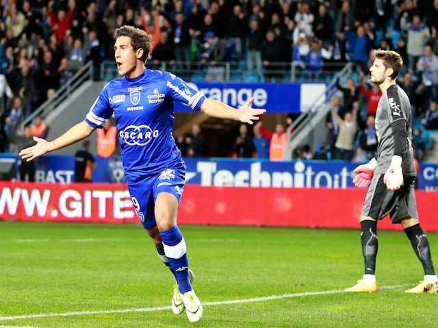 Bastia's Belgian forward Gianni Bruno celebrates after scoring a goal during a French L1 football match against Rennes at the Armand Cesari stadium in Bastia on November 9, 2013