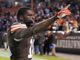 Wide receiver Greg Little of the Cleveland Browns celebrates after the game against the Baltimore Ravens at FirstEnergy Stadium on November 3, 2013