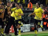 Ivan Perisic celebrates scoring for Borussia Dortmund against Arsenal on September 13, 2011.