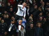 Man United's Javier Hernandez celebrates after scoring his second goal during the match against Aston Villa on November 10, 2012
