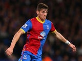 Joel Ward of Crystal Palace controls the ball during the Barclays Premier League match between Crystal Palace and Fulham at Selhurst Park on October 21, 2013