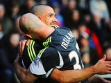 Stoke's Jonathan Walters celebrates with team mate Stephen Ireland after scoring the opening goal against Swansea on November 10, 2013