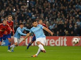 Sergio Aguero of Manchester City scores the opening goal from the penalty spot during the UEFA Champions League Group D match between Manchester City and CSKA Moscow at the Etihad Stadium on November 5, 2013