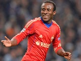 CSKA Moscow's Ivorian forward Seydou Doumbia celebrates after scoring a goal during the UEFA Champions League group D football match between Manchester City and CSKA Moscow at The City of Manchester stadium in Manchester, north-west England on November 5,