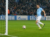 Manchester City's Spanish forward Álvaro Negredo scores the fourth goal during the UEFA Champions League group D football match between Manchester City and CSKA Moscow at The City of Manchester stadium in Manchester, north-west England on November 5, 2