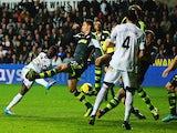 Swansea's Nathan Dyer scores his team's second goal against Stoke on November 10, 2013