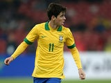 Brazil's Oscar in action against Zambia during an international friendly match on October 15, 2013