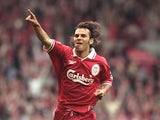Liverpool's Patrik Berger celebrates a goal at Anfield on May 3, 1997