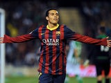Barcelona's forward Pedro Rodriguez celebrates after scoring during the Spanish La Liga match Real Betis vs FC Barcelona at the Benito Villamarin stadium in Sevilla on November 10, 2013
