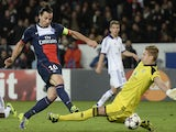 Paris Saint-Germain's Swedish forward Zlatan Ibrahimovic scores a goal during the UEFA Champions League football match Paris Saint-Germain (PSG) vs RSC Anderlecht (RSCA) on November 5, 2013