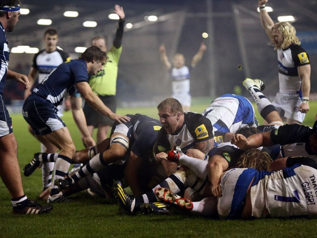 Bath Rugby's Anthony Perenise is driven over for a try against Sale Sharks' during the LV= Cup Round 1 match between Sale Sharks and Bath Rugby at AJ Bell Stadium on November 08, 2013