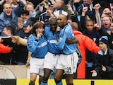 Shaun Goater celebrates scoring against Manchester United on November 09, 2002.