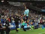 Richard Garcia of Sydney FC celebrates after scoring during the round five A-League match between Sydney FC and the Melbourne Victory at Allianz Stadium on November 9, 2013