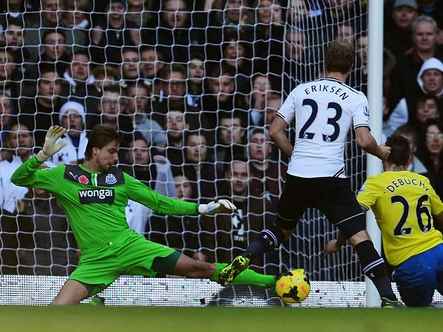 Newcastle's Tim Krul makes a save under pressure during the match against Tottenham on November 10, 2013