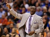Head coach Tyrone Corbin of the Utah Jazz directs his team during the first half of the NBA game against the Phoenix Suns at US Airways Center on November 1, 2013