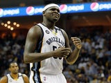 Zach Randolph #50 of the Memphis Grizzlies reacts in the fourth quarter while taking on the San Antonio Spurs during Game Four of the Western Conference Finals of the 2013 NBA Playoffs at the FedExForum on May 27, 2013