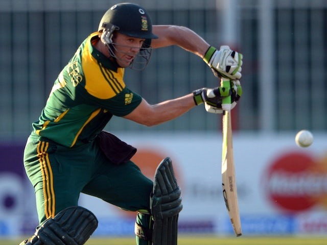 South Africa batsman AB de Villiers plays a shot during the fifth ODI against Pakistan in Sharjah on November 11, 2013