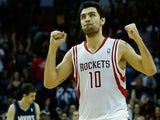 Carlos Delfino of the Houston Rockets celebrates a basket during the game against the Minnesota Timberwolves at Toyota Center on March 15, 2013