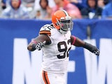 Cleveland Browns' Frostee Rucker in action against New York Giants on October 7, 2012
