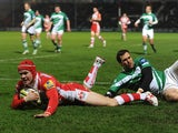 Rob Cook of Gloucester scores a try during the LV= Cup match between Gloucester and Newcastle Falcons at Kingsholm Stadium on November 16, 2013