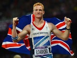Greg Rutherford celebrates after winning gold in the Olympic long jump event at London 2012 on August 4, 2012