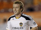 Jack McBean of the Los Angeles Galaxy scores in the 88th minute against the Houston Dynamo at Robertson Stadium on October 23, 2011